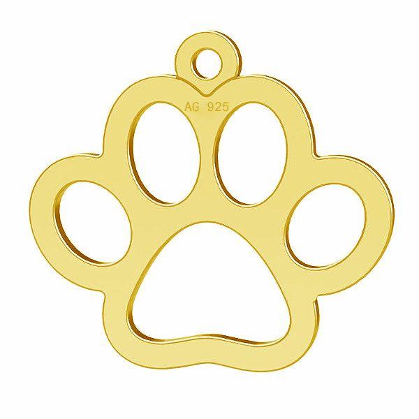 Hund pfote anhanger, silber 925, LK-0365 - 0,50