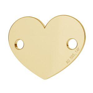 Herz tag anhänger 14K gold LKZ-00462 - 0,30 mm