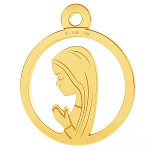 Unser Dame Medaillon anhänger, 14K gold, LKZ-00661 - 0,30