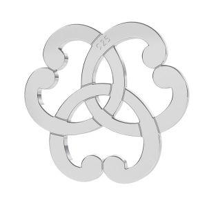 Triquetra herz rosette anhänger, silber 925, LK-1260 - 0,50
