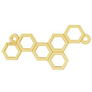 Bienenwabe anhänger, 14K gold, LKZ-00348 - 0,30