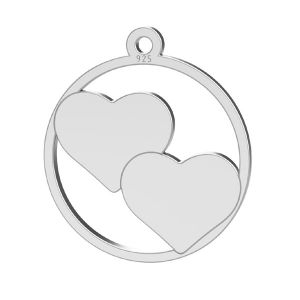 Herz anhänger, sterling silber 925, LK-1367 - 0,50