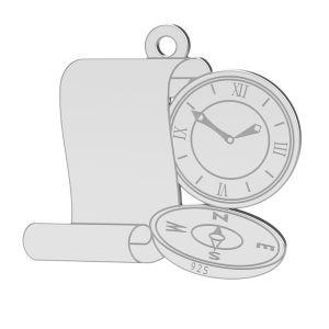 Kompass anhänger, sterling silber 925, LK-1369 - 0,50