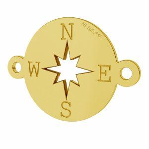 Kompass anhanger, 14K gold, LKZ-01318 - 0,30