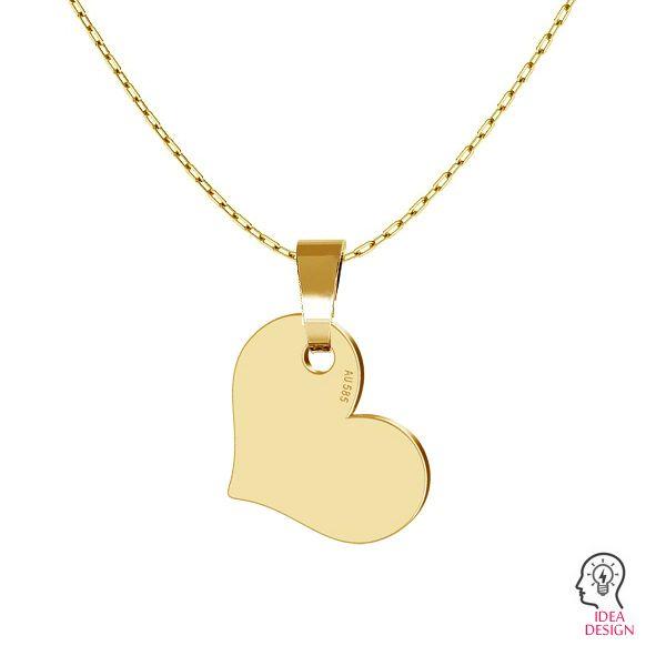 Herz tag anhänger 14K gold LKZ-00573 - 0,30