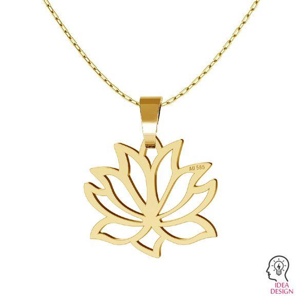 Lotus blume anhänger, 14K gold LKZ-00771 - 0,30