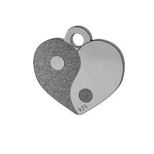 Yin Yang herz anhänger, sterling silber 925, LK-1479 - 0,50
