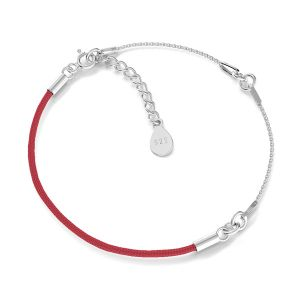 Armband base, sterling silber 925, S-BRACELET 15 (RED)