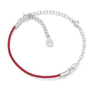 Armband base, sterling silber 925, S-BRACELET 17 (RED)