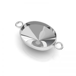Anhänger Swarovski Rivoli Oval Basis Silber, OKSV 4122 MM 14,0 CON 2