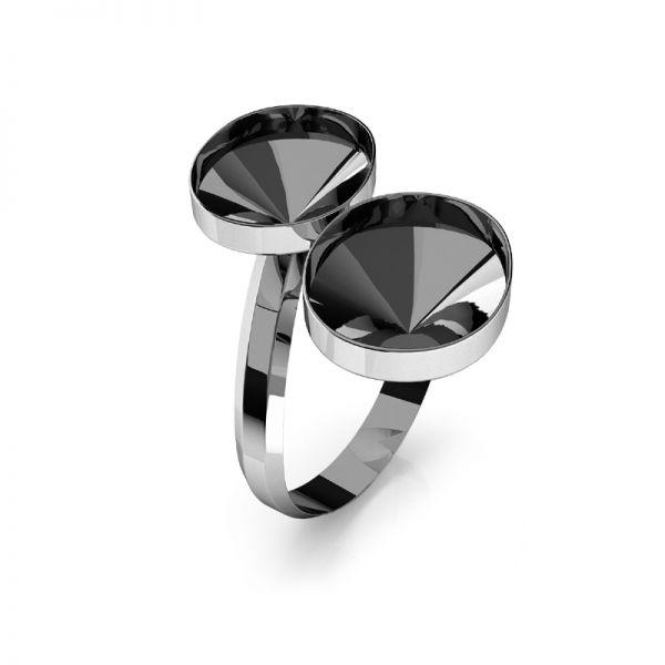Ring Swarovski Rivoli Oval Basis Silber, OKSV 4122 MM 14,0 DOUBLE RING