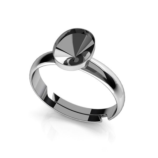 Ring Swarovski Rivoli Oval Basis Silber, OKSV 4122 MM  8,00 UNIVERSAL RING