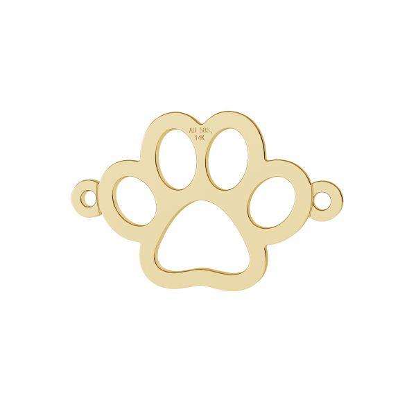 Hund pfote anhänger, 14K gold, LKZ-00366 - 0,30