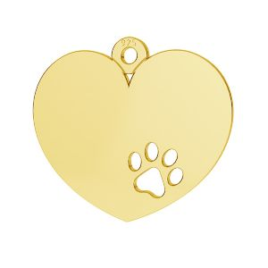 Herz mit hund pfote anhänger, silber 925, LKM-2295 - 0,50
