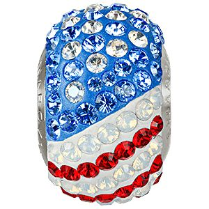 81864 BeCharmed Pavé Flag USA - beads Crystal, Sapphire, Light Siam, White Opal