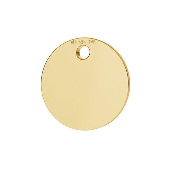 Runder tag anhänger 14K gold LKZ-00025 - 0,30 mm