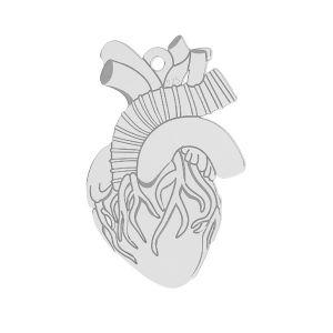 Herz anhänger, silber 925, LKM-2370 - 0,50 14x21,6 mm