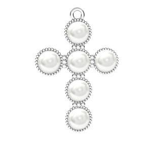 Herz anhänger Swarovski pearls, ODL-00666 20,5x29,5 mm ver.2