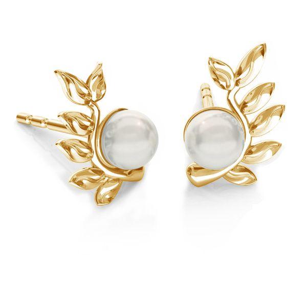Blätter Ohrringe Swarovski pearls*silber 925*ODL-00791 L+P 6,7x10,5 mm (5818 MM 4)