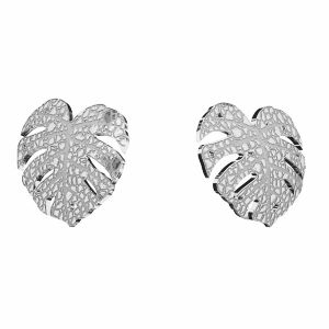 Monstera blatt ohrringe, sterling silber 925, KLS LKM-2760 - 0,50 10x11,2mm