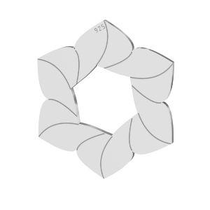 Blume anhänger, sterling silber 925, LKM-2788 - 0,50 14,7x17 mm