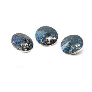 Runden Kristall 10mm, RIVOLI 10 MM GAVBARI METALIC BLUE PATINA