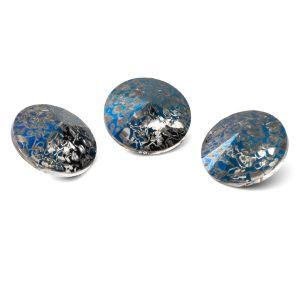 Runden Kristall 12mm, RIVOLI 12 MM GAVBARI METALIC BLUE PATINA