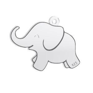 Elefant anhänger, sterling silber 925, LKM-3006 - 05 14,5x20 mm