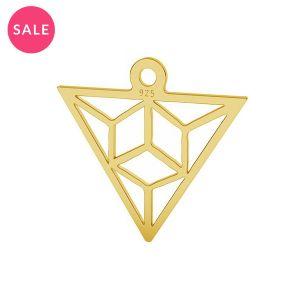 Origami dreieck anhänger silber, LK-1508 - 0,50 15,3x16,5 mm