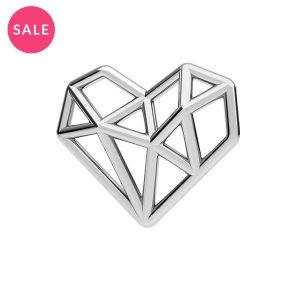 Origami Herz Anhänger Silber, ODL-00299